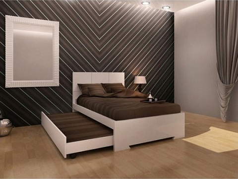Anna Twin Trundle Bed BT1009D-WHT from Whiteline Imports