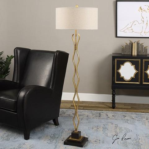 Sottana Antiqued Gold Floor Lamp 28638 from Uttermost