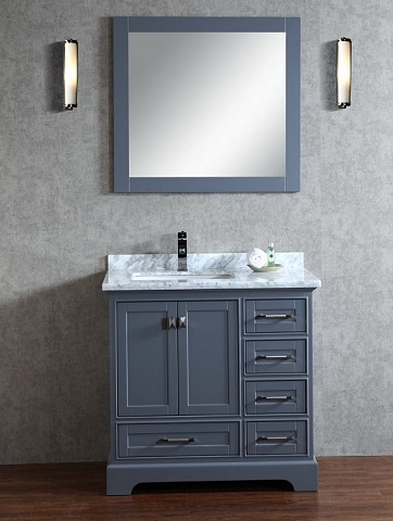 "Chanel 36"" Grey Bathroom Vanity HD-7130G-36-CR from Stufurhome"