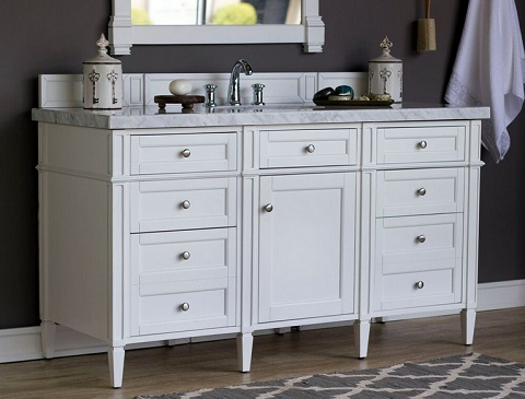 "Brittany 60"" Single Bathroom Vanity Cabinet in Cottage White 650-V60S-CWH from James Martin Furniture"