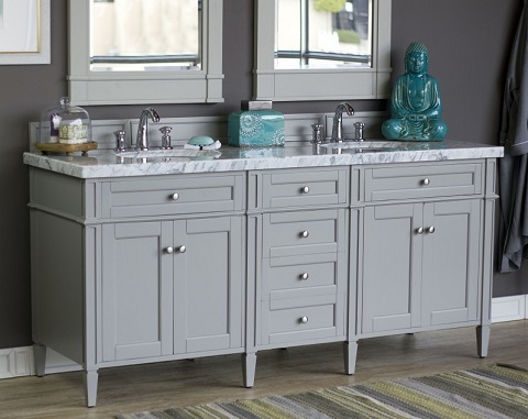 "Brittany 72"" Double Bathroom Vanity Cabinet in Urban Gray 650-V72-UGR from James Martin Furniture"