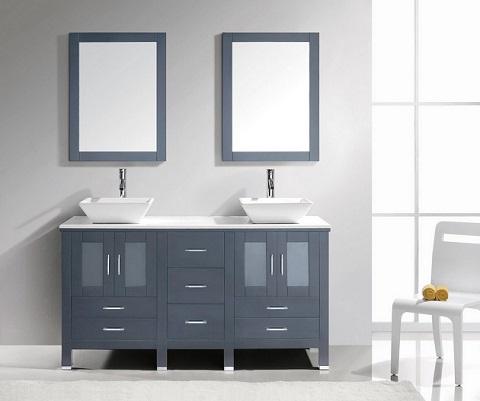 """Brentford 60"""" Double Sink Bathroom Vanity Set in Grey MD-4305-S-GR from Virtu USA"""