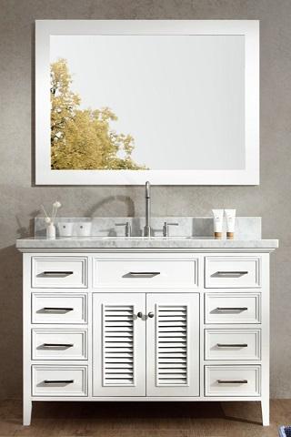 "Kensington 49"" Single Sink Bathroom Vanity Set in White D049S-WHT from Ariel"