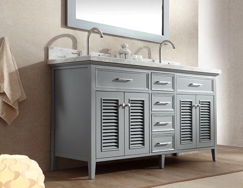 "Kensington 61"" Double Sink Bathroom Vanity Set in Grey D061D-GRY from Ariel"