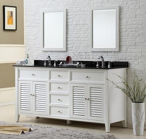 "Shutter 70"" White bathroom Vanity With Black Granite Top 6070D12-WBK from Direct Vanity"