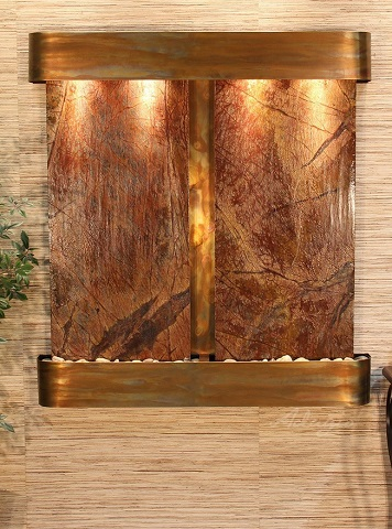 Aspen Falls AFR1006 Brown Marble Fountain With Rustic Copper Finish from Adagio