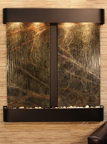 Aspen Falls AFR1505 Wall Mounted Fountain In Green Marble and Blackened Copper from Adagio