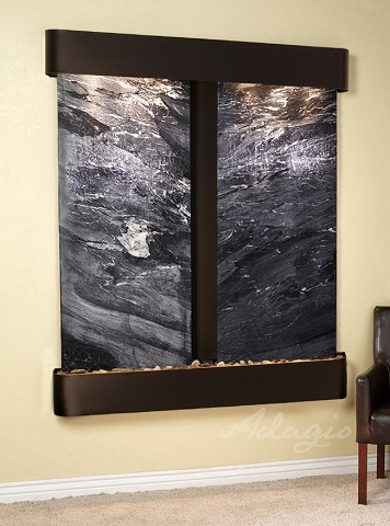 Cottonwood Falls CFR1507 Fountain In Black Spider Marble With Blackened Copper Frame from Adagio