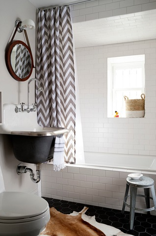 It's easy to dress up a cottage style bathroom to have a more industrial feel - you just have to pick the right accessories (by BGDB Interior Design)