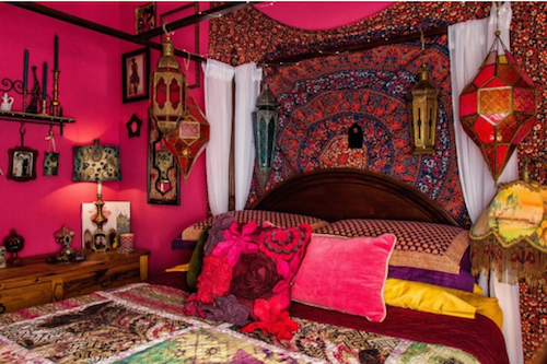 An unexpected and uninhibited mix of colors is key in Bohemian decorating. (by Up By Design, photo by Mike Gagnon)
