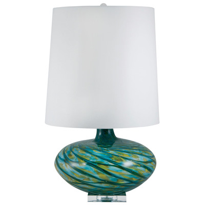 Big Bang Blown Glass Table Lamp in Blue Swirl, 312 by Lamp Works