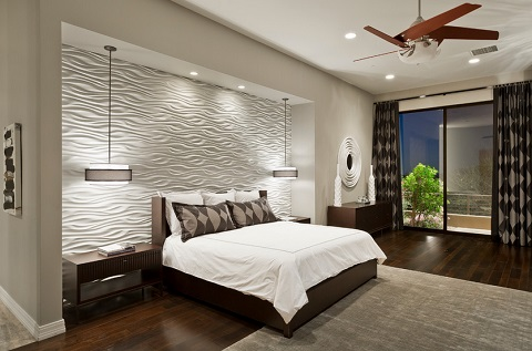 Lighting up a textured wall is maybe the most dramatic way to create a headboard and it's easier to pull off than you might think (by Chris Jovanelly Interior Design)
