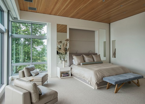 One surprising way to make your headboard stand out is actually to bump it in - recess it back and let the surrounding wall act as a frame (by Sellars Lathrop Architects)