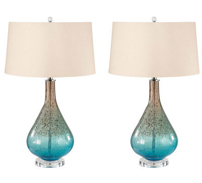 Earth and Sky Crackle Glass Table Lamp, 288/S2 by Lamp Works