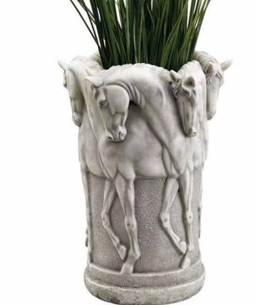 Stone Finish Six Stallion Urn, KY48017 by Toscano