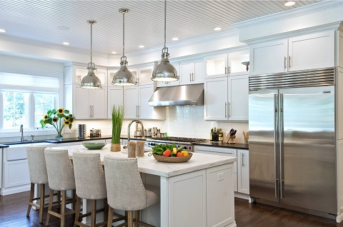 Centering your kitchen's primary task lighting around the perimeter of the room rather than in the center of it is an easy way to improve your task lighting (by EB Designs)