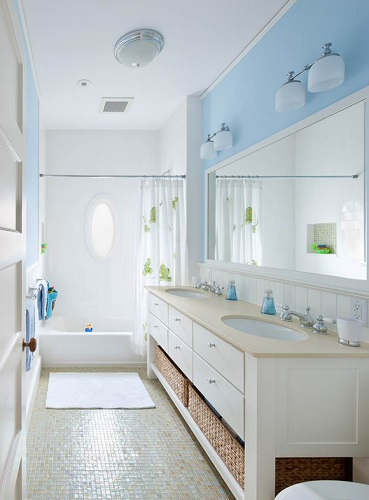 Long bathrooms are actually surprisingly kid-friendly, and work well if you have multiple kids using the same space at the same time (by Feinmann Design Build, photo by John Horner)
