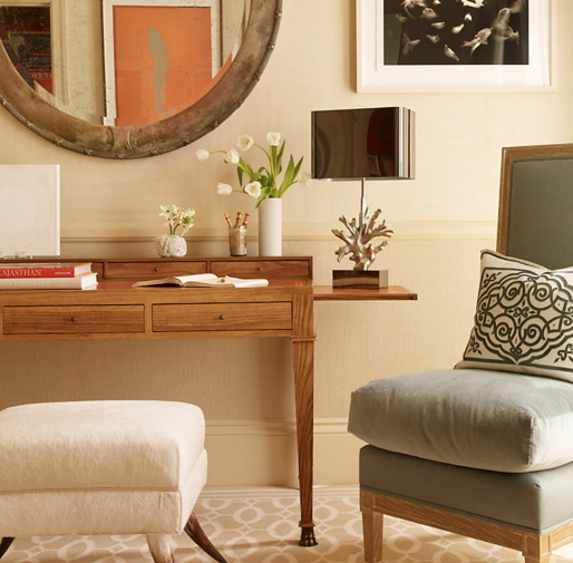 Biege, grey, white, and brown are all great neutral colors for a transitional room. (By Applique Artistry)