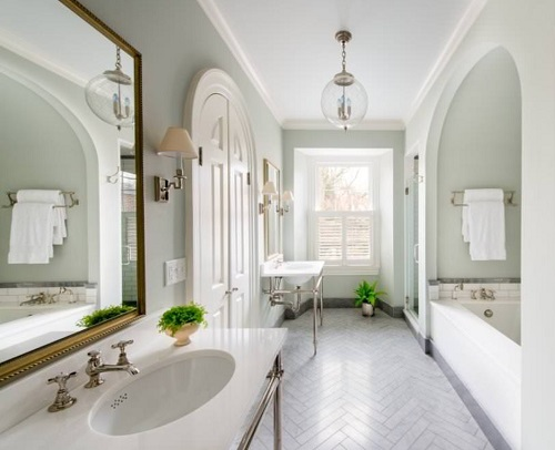 Slightly wider long bathrooms benefit a lot from good pre-planning and a layout that ensures there's enough wiggle room around each fixture (by Beverly Broun Interiors, photo by John Cole)