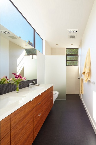 Windows high up on your bathroom wall let in plenty of natural light while helping you retain your privacy (by Ohashi Design Studio, photo by John Sutton)