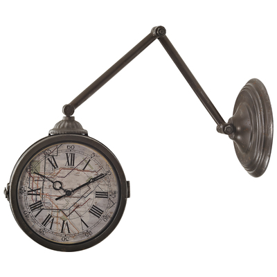 Double Sided Wall Clock With Map Of New York Subway, 128-094 by Sterling