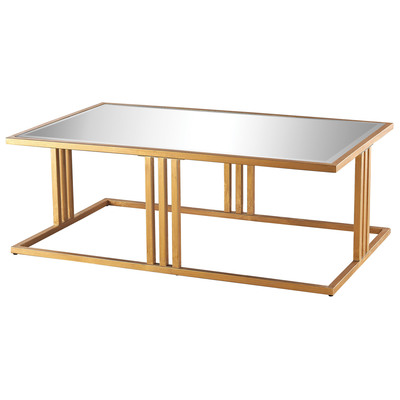Andy Coffee Table In Gold Leaf And Clear Mirror, 1114-198 by Dimond Home