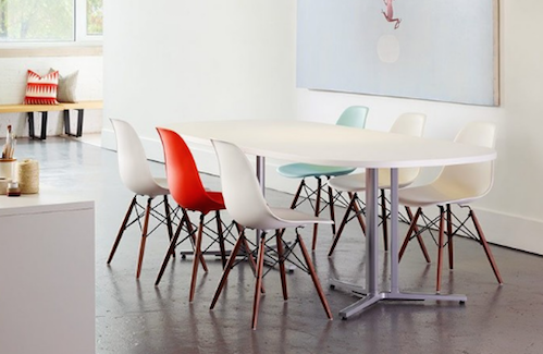 Molded Fiberglass and Industrial criss-cross legs are informal but fun. (By UP Interiors)