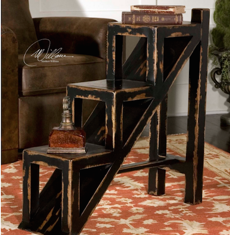 Asher Black Stepped Accent Table, 25523 by Uttermost