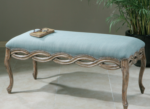 Kylia Sky Blue Bench, 23190 by Uttermost
