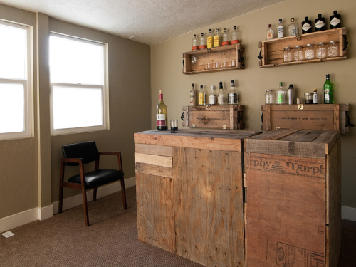 A basement or some other underutilized space in your home could be a great place for a bar! (By Lucy Call)