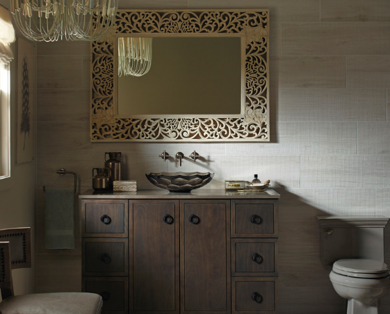 Wood and other natural materials gives an air of old-world tradition. (By Kohler)