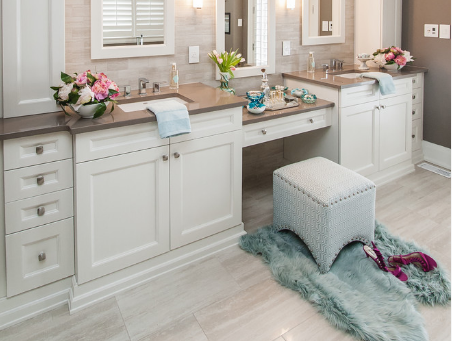 The traditional style is a perfect choice for a master bathroom. (b AFK Flooring and Kitchens)