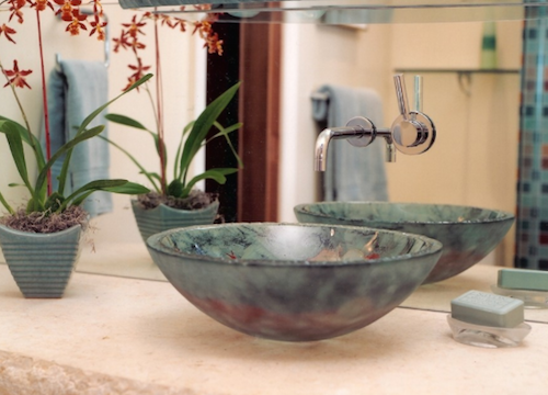 The classic vessel sink is based off old-fashioned wash basins. (By Landmark Builders)
