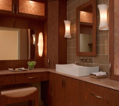 Vanities and counters are both excellent spots for a vessel sink. (By Xstyles Bath and More)