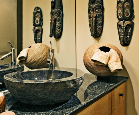 Vessel sinks come in all sorts of materials and styles. (By Jan Gunn Interior Architecture and Design)