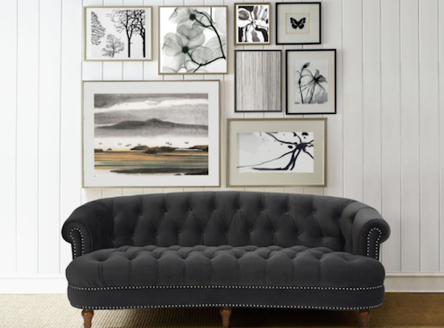 Black Tufted Sofa with Studs In 2525-3-860 by Jennifer Taylor Home
