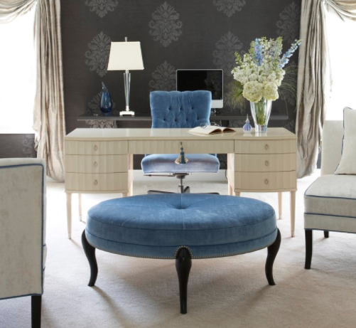 Sofas aren't the only forms velvet furniture! (By Cynthia Mason Interiors)