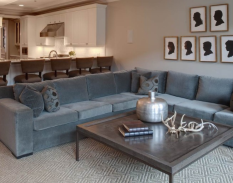 A sectional sofa in velvet combines practicality with elegance. (By Randy Heller Pure and Simple Interior Design)