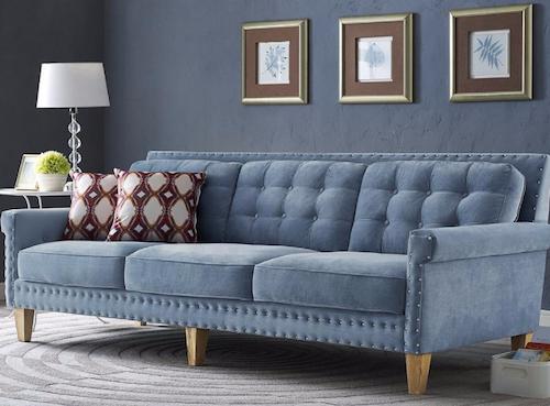 Jonathan Blue Velvet Sofa , TOV-S75 by TOV