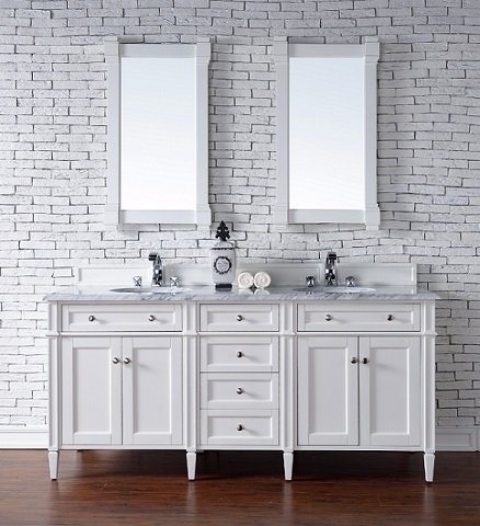 "Brittany 72"" Double Bathroom Vanity Cabinet in Cottage White 650-V72-CWH from James Martin Furniture"