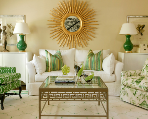 Green is terrific accent color. (By Tobi Fairley Interior Design)