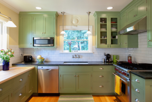 Green kitchens have a time and a place. (By S2 Builders, Photo by Kristin Zwiers Photography)
