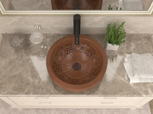 """Admiral 17"""" Handmade Vessel Sink with Floral Design Interior LS-AZ336 from Anzzi"""