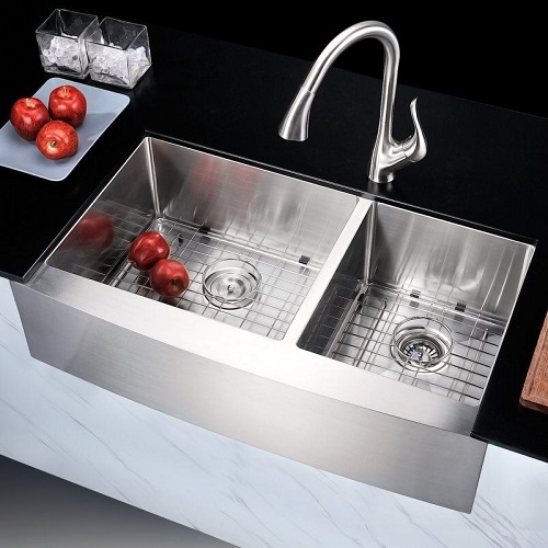 "Elysian 36"" Farm House Dual Basin Stainless Steel Kitchen Sink K-AZ3620-3A from Anzzi"