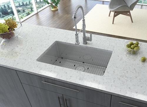 """Gravena 28"""" Undermount 16 Gauge Tight Radius Single Bowl Stainless Steel Kitchen Sink RVH7250 from Ruvati"""
