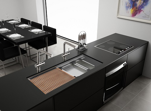 """Roma 33"""" Two-Tiered Ledge Kitchen Sink Workstation RVH8222 from Ruvati"""