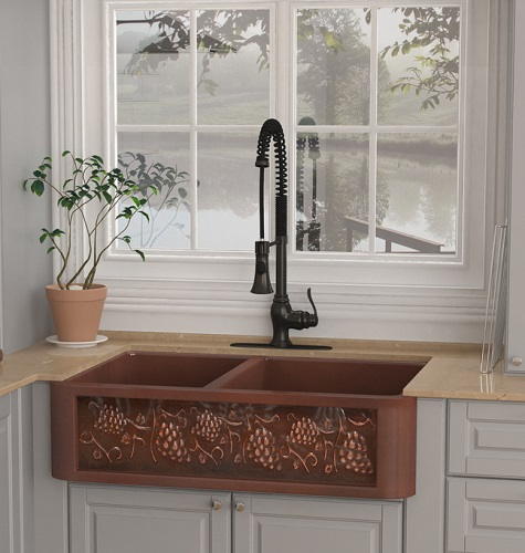 """Teller 33"""" Farmhouse Handmade Copper Double Bowl Kitchen Sink With Grape Vine Design from Anzzi"""