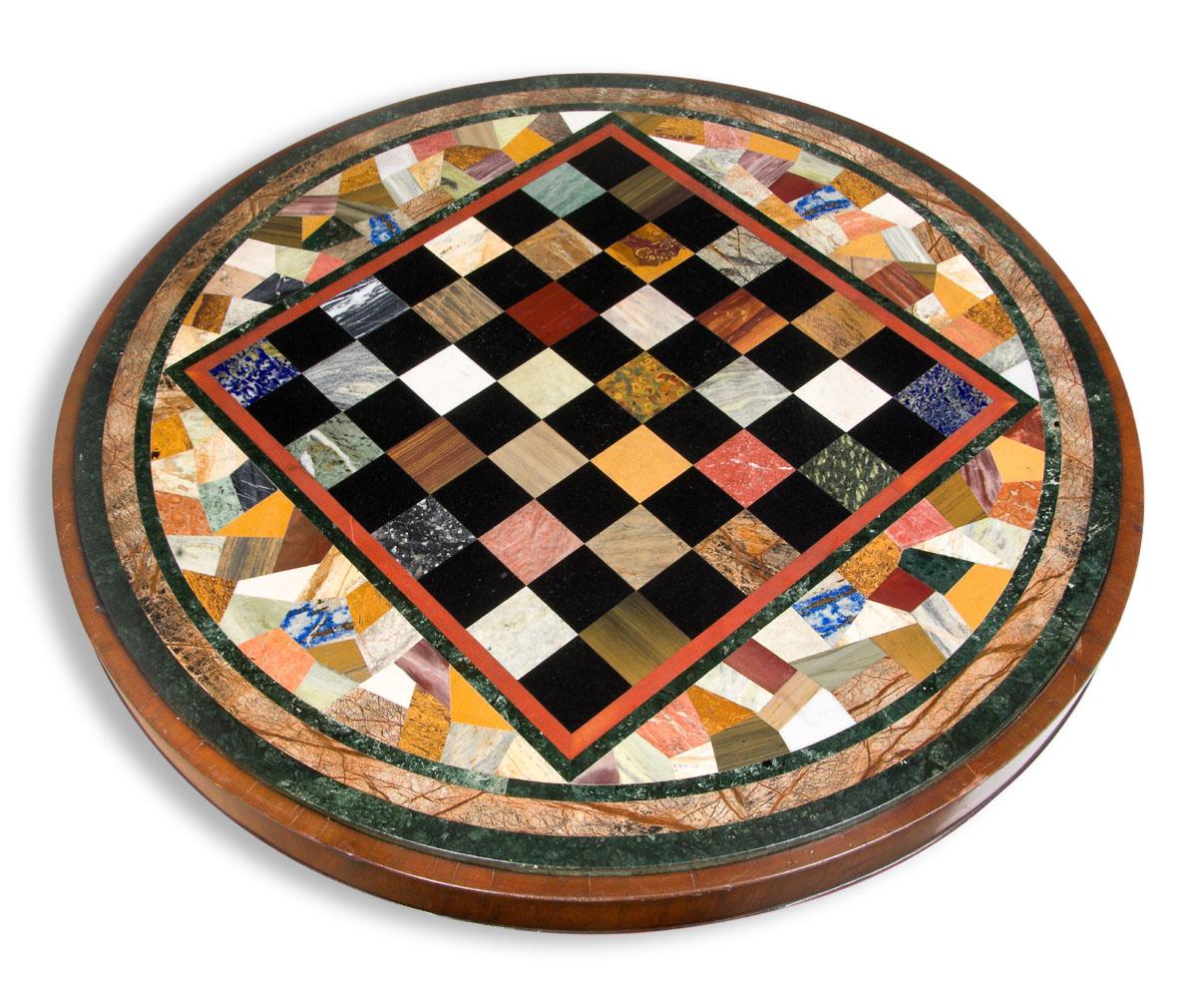 Marble Tile Chess Table circa 1890