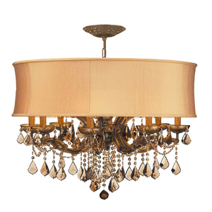 Crystorama Chandelier with Gold Silk Shade