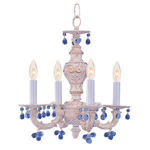 The Sutton Collection Chandelier with Blue Murano Crystals from Crystorama